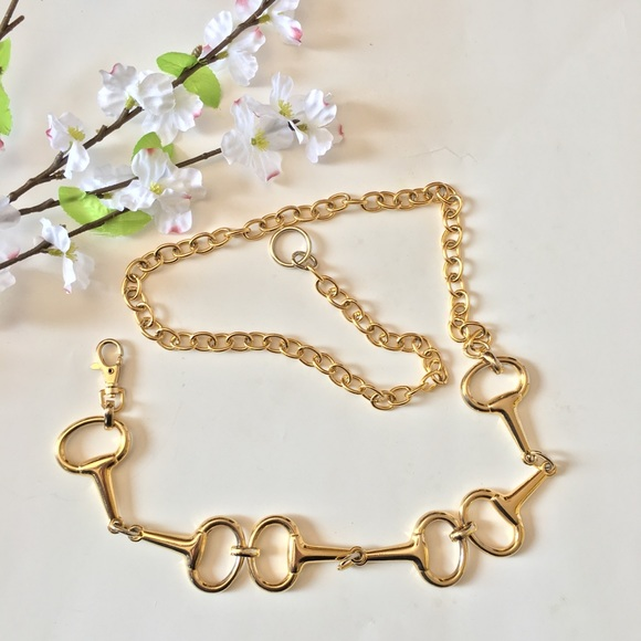 8de5c8b46 Accessories | Adjustable Horsebit Gold Tone Metal Chain Belt | Poshmark